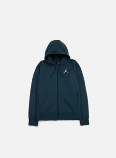 Jordan - Flight Fleece Full Zip Hoodie, Armory Navy/White