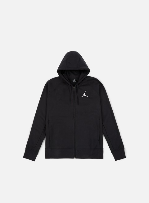 felpe jordan flight fleece full zip hoodie black white