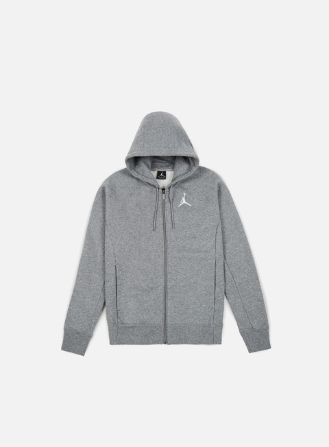 felpe jordan flight fleece full zip hoodie carbon heather white