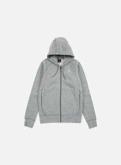 Jordan - Flight Fleece Full Zip Hoodie, Dark Grey Heather/White