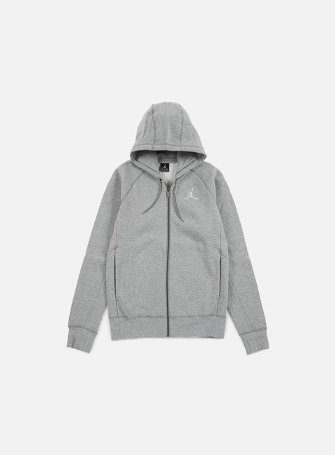 felpe jordan flight fleece full zip hoodie dark grey heather white