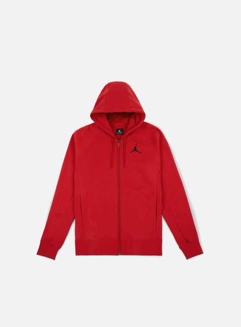 felpe jordan flight fleece full zip hoodie gym red black