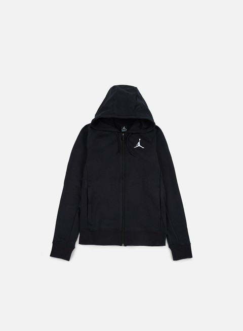 felpe jordan flight lite full zip hoodie black white