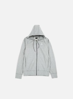 Jordan - Flight Lite Full Zip Hoodie, Dark Grey Heather/White