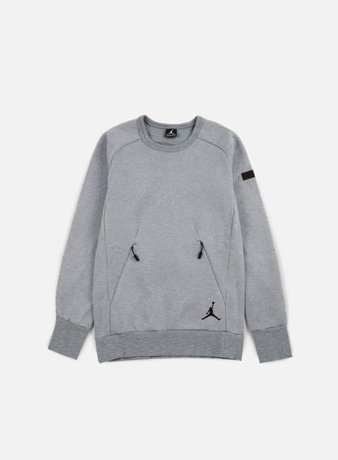 felpe jordan icon fleece crewneck cool grey black