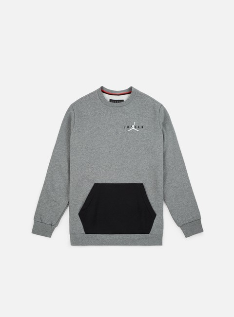 felpe jordan jumpman air fleece crewneck carbon heather white