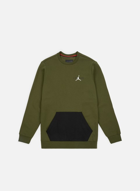 felpe jordan jumpman air fleece crewneck olive canvas black white