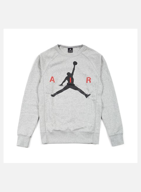 felpe jordan jumpman graphic brushed crewneck dark grey heather black
