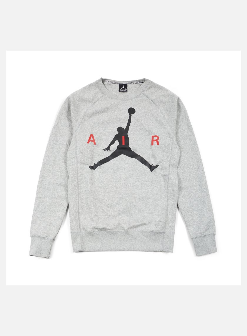 Jordan - Jumpman Graphic Brushed Crewneck, Dark Grey Heather/Black