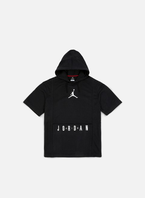 felpe jordan short sleeve basketball hoodie black white