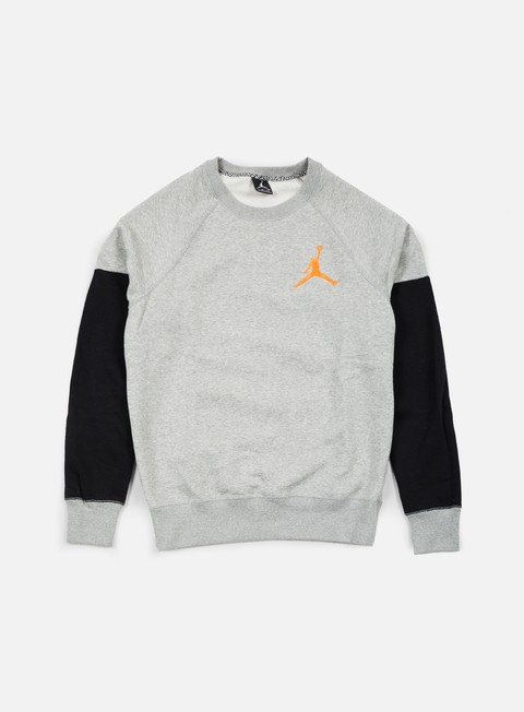 felpe jordan the varsity graphic crewneck dark grey heather atomic orange