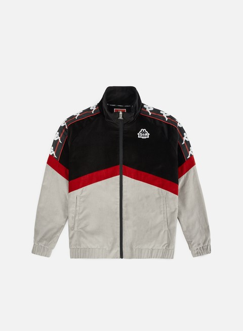 felpe kappa authentic cabrini jacket black red dk grey