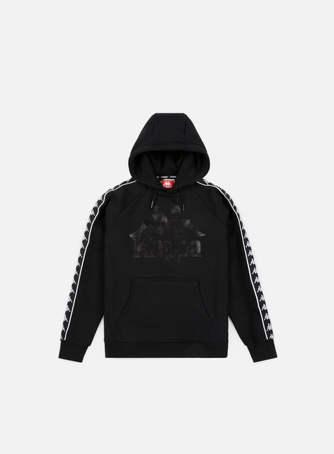 felpe kappa authentic hurtado hoodie black white