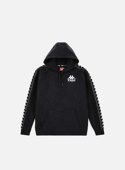 felpe kappa authentic porta hoodie black white