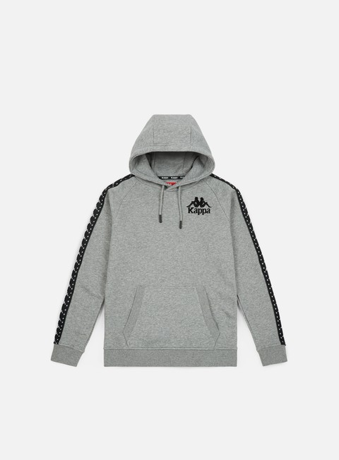 felpe kappa authentic porta hoodie grey medium melange black