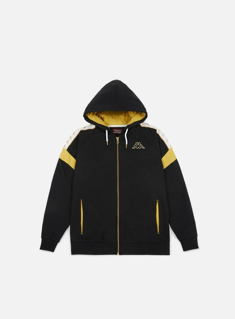 felpe kappa banda ardev hooded fleece jacket black yellow gold