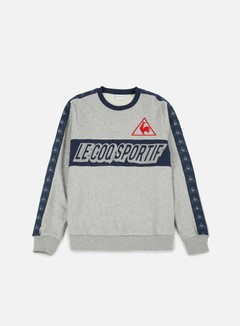 Le Coq Sportif - Tri LF Football Crewneck, Light Heather Grey