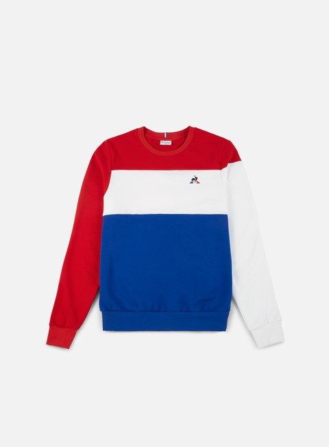 felpe le coq sportif tri n 1 crewneck pur rouge new optic white