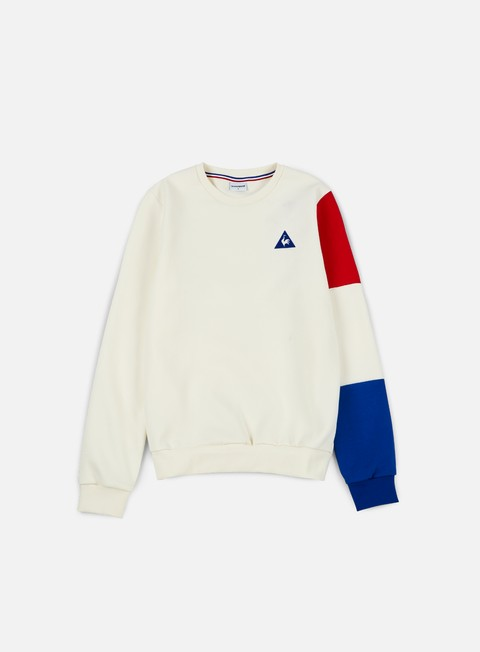 felpe le coq sportif tricolore bbr crewneck marshmallow