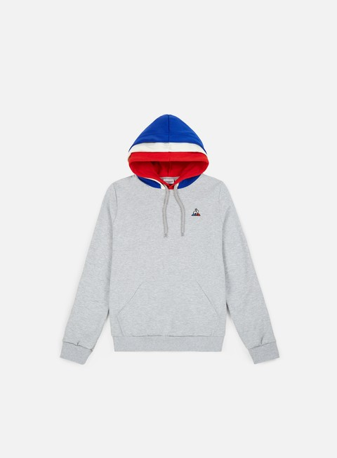 felpe le coq sportif tricolore bbr n 1 hoodie gris chine clair
