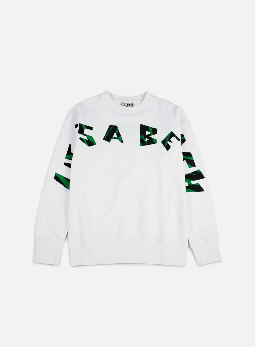 Life's a Beach - Strip Logo Jungle Crewneck, White