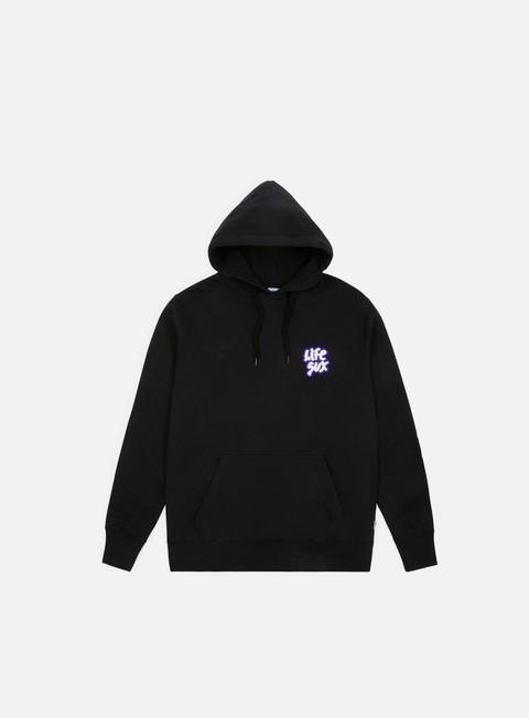 felpe life sux applique logo hoodie black