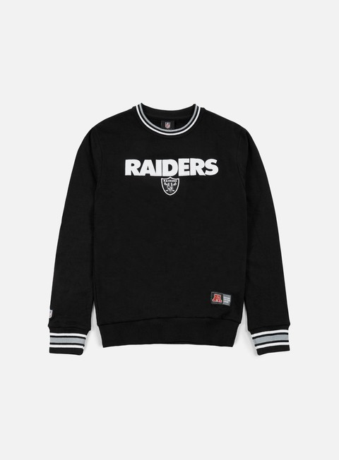 felpe majestic birchen cross over crewneck oakland raiders black