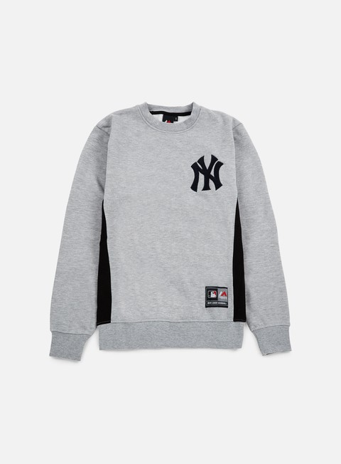 felpe majestic bulba chenille chest logo crewneck ny yankees heather grey