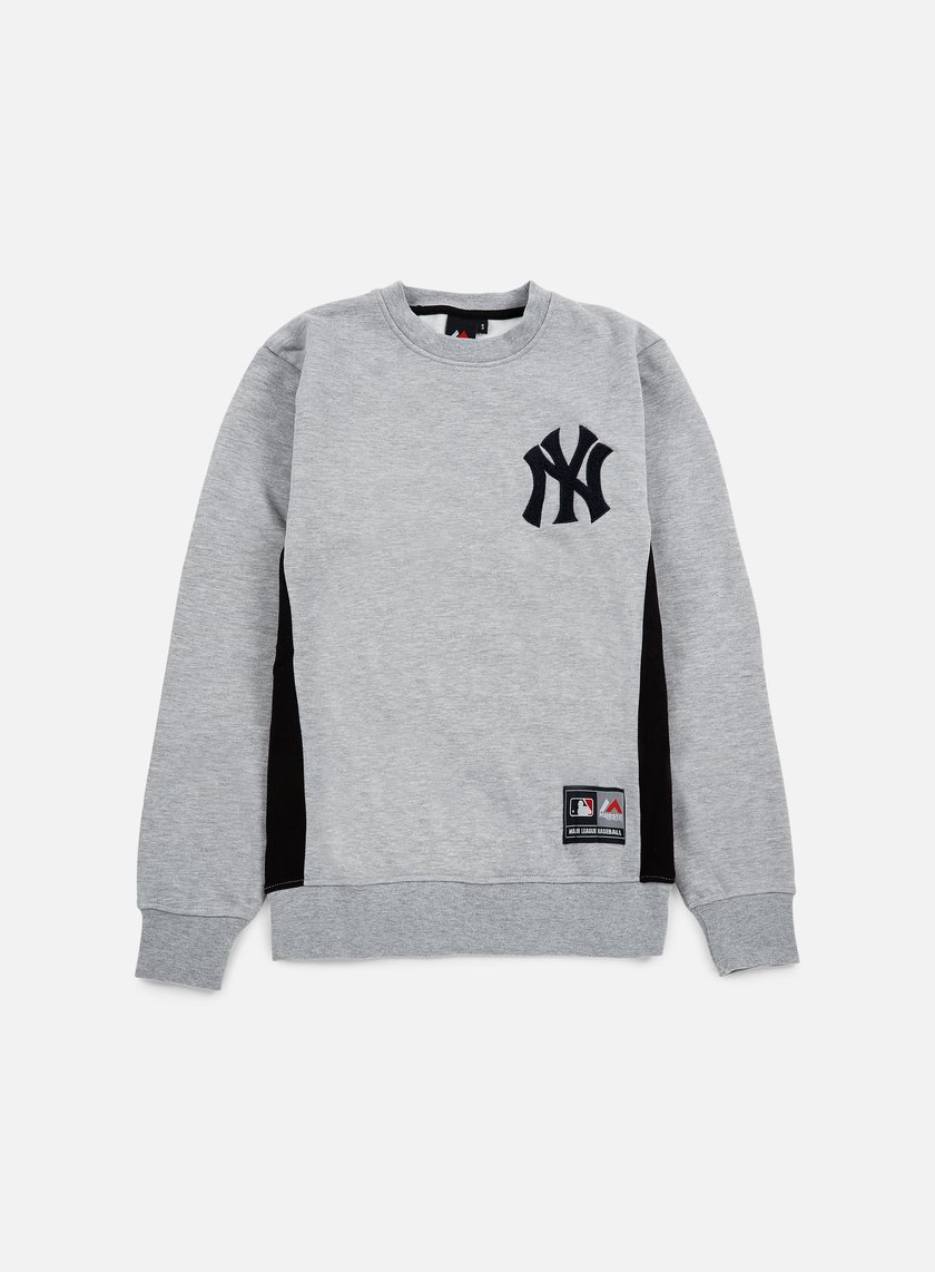 Majestic - Bulba Chenille Chest Logo Crewneck NY Yankees, Heather Grey