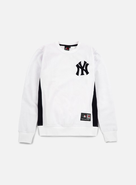 felpe majestic bulba chenille chest logo crewneck ny yankees white