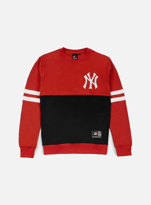felpe majestic chemin crewneck ny yankees navy red