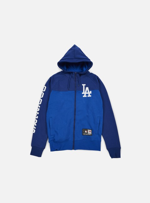 felpe majestic croco cut e sew full zip hoody la dodgers blue