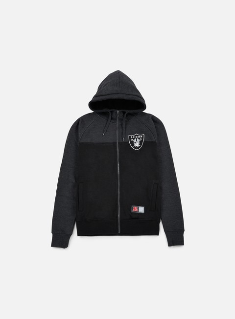 felpe majestic croco cut e sew full zip hoody oakland raiders black