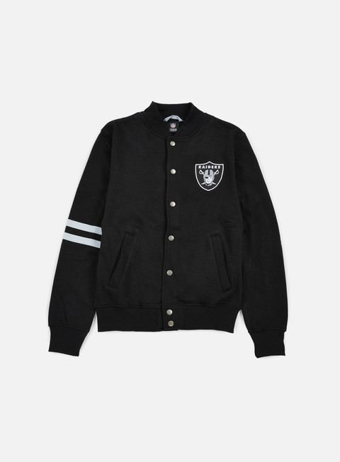 felpe majestic emodin fleece letterman oakland raiders black