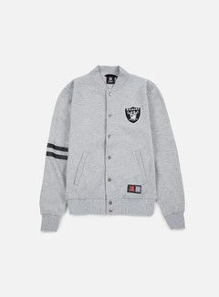 Majestic - Emodin Fleece Letterman Oakland Raiders, Heather Grey 1