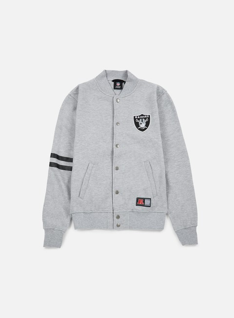 felpe majestic emodin fleece letterman oakland raiders heather grey