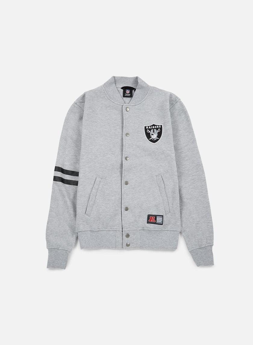 Majestic - Emodin Fleece Letterman Oakland Raiders, Heather Grey