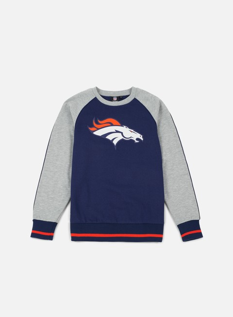 felpe majestic fleece raglan crewneck denver broncos navy heather grey