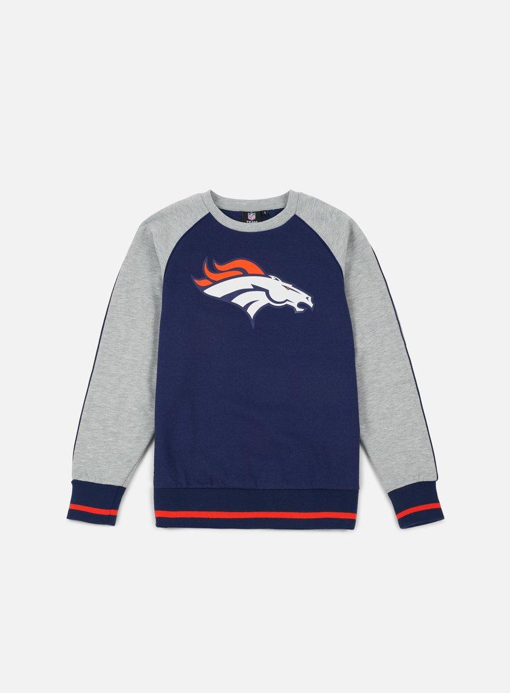 Majestic - Fleece Raglan Crewneck Denver Broncos, Navy/Heather Grey