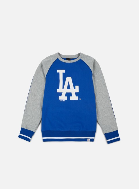 felpe majestic fleece raglan crewneck la dodgers blue heather grey