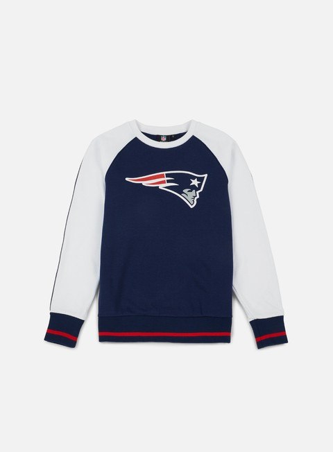 felpe majestic fleece raglan crewneck new england patriots navy white
