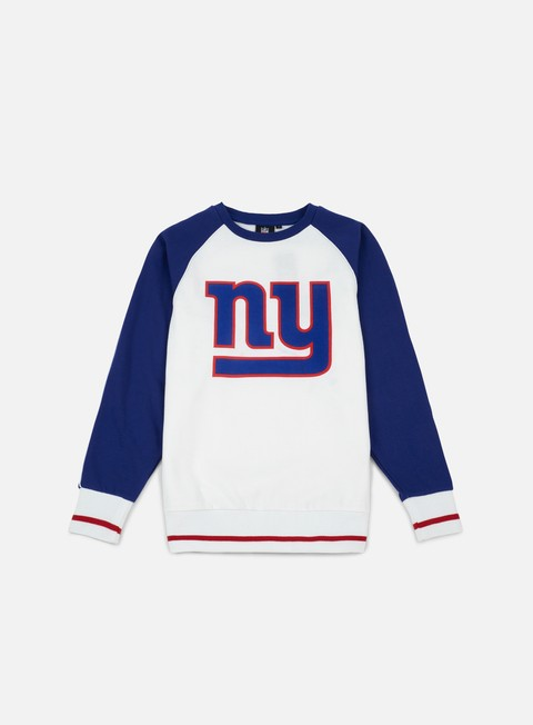 felpe majestic fleece raglan crewneck ny giants white royal