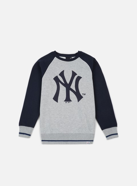 felpe majestic fleece raglan crewneck ny yankees heather grey navy