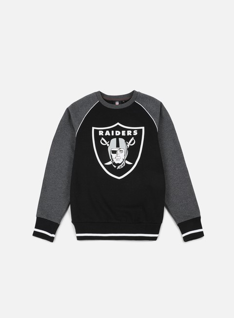felpe majestic fleece raglan crewneck oakland raiders black dark grey