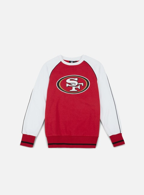 felpe majestic fleece raglan crewneck san francisco 49ers red white