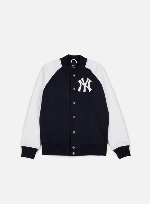 felpe majestic gadwell fleece letterman jacket ny yankees navy