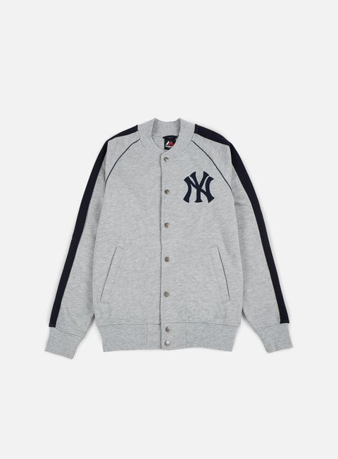 felpe majestic melter fleece letterman jacket ny yankees heather grey