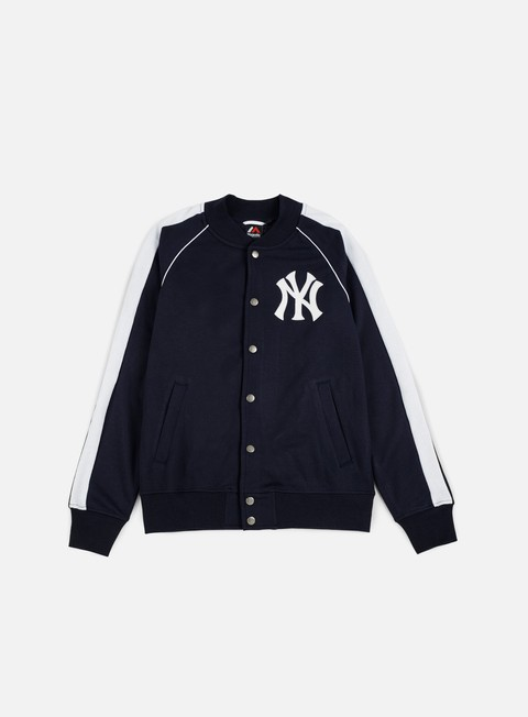 felpe majestic melter fleece letterman jacket ny yankees navy
