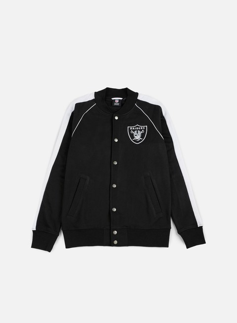 felpe majestic melter fleece letterman jacket oakland raiders black