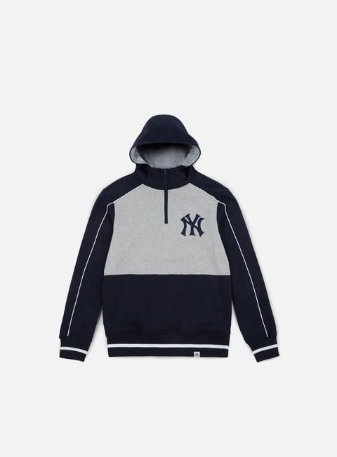 felpe majestic quarter zip oth hoody ny yankees navy grey